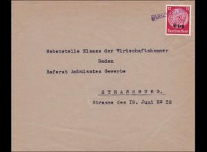 Elsass: Brief aus Burzweiler nach Straßburg 1940