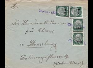 Elsass: Brief aus Rheinau 1940 nach Strassburg - Handelskammer