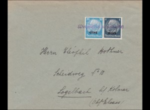 Elsass: Brief aus Winzenheim nach Logelbach bei Kolmar 1940