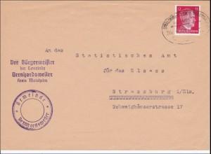 Elsass: Brief aus Berhardsweiler-Bürgermeister-nach Strassburg mit Bahnpost 1943