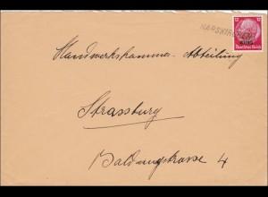 Elsass: Brief aus Harskirchen nach Straßburg 1940
