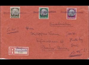 Elsass: Einschreiben von Ruprechtsau/Strassburg nach Baden Baden 1940