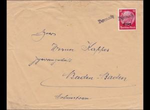 Elsass: Brief von Dornach nach Baden-Baden