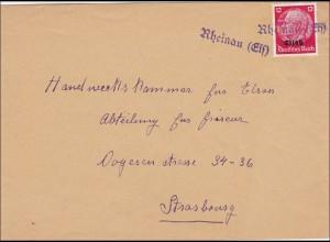 Elsass: Brief von Rheinau nach Strassburg 1940