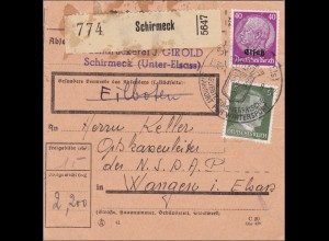 Elsass:Paketkarte Schirmeck nach Wangen/Elsass an Ortskassenleiter 1941