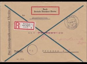 Ukraine: DDP Ukraine: Einschrieben vom Generalkommissar nach Dresden 1944