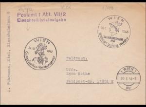Wien: Europäischer Postkongress an Feldpost Nr. 1942/43, Einschreibbriefaufgabe