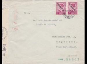 Serbien: Breif von Beograd nach Chemnitz mit Zensur