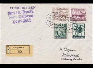 Österreich: Klagenfurt: Propaganda Anschluss 10. April 1938 R-Brief nach München