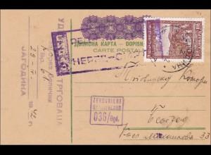 Serbien: Ganzsache, überfrankiert, Zensiert 1942