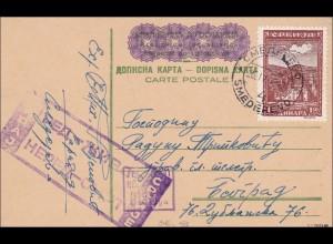 Serbien: Ganzsache,zufrankiert, Zensiert 24.04.1943