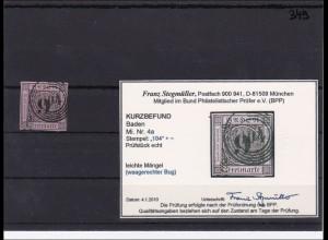Baden MiNr. 4a, breitrandig, gestempelt Nr. 104, mit BPP Befund