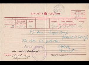Kyrilisches Telegram Formular an SS-Mann, Gemeindeamt Opstinsko 1943