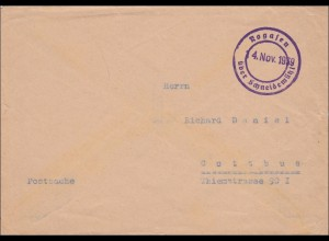 Postsache: Rogasen über Schneidermühl 14.11.1939