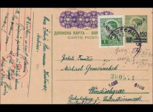 Serbien: Ganzsache in die Untersteiermark mit Zensur 1942