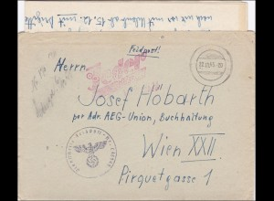 Feldpost: 1943 von München nach Wien; FPNr. 46949, mit Inhalt