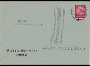Praschkau, an das Finanzamt Welungen 1941