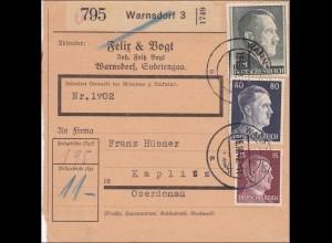 Paketkarte Warnsdorf Sudetengau nach Kaplitz Oberdonau 1942
