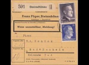PaketkarteSteinschönau nach Bad Nauheim