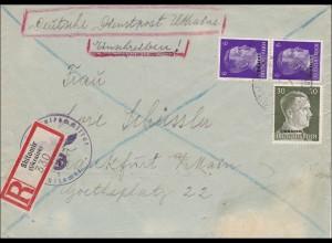Ukraine: Einschreiben Deutsche Dienstpost Shitomir nach Frankfurt 1942