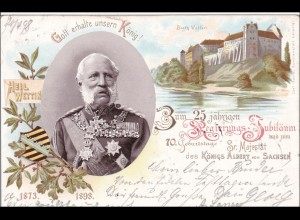 Ansichtskarte AK: König Albert von Sachsen, 25. jähriges Regierungsjubiläum 1898