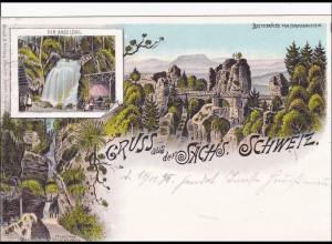 Ansichtskarte AK: Gruss aus der sächs. Schweiz 1898