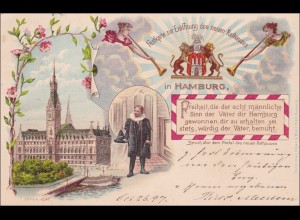 Ansichtskarte AK: Festkarte Eröffnung neues Rathaus 1897, Hamburg