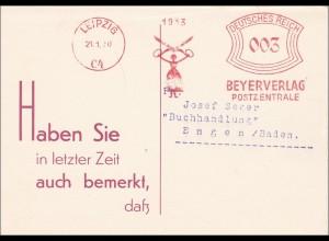 Freistempel: Postkarte mit Antwort Leipzig 1930 nach Engen, Buchhandlung