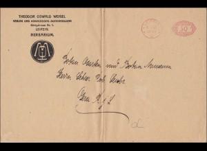 Freistempel: großer Brief aus Leipzig von 1922, Verlag Buchhandlung nach Gera