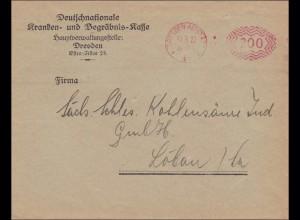 Freistempel: Deutschnationale Begräbnis Kasse Dresden nach Löbau 1922