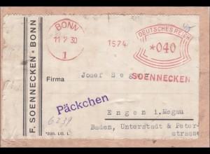 Freistempel: Soennecken Bonn als Päckchen auf Ausschnitt nach Engen 1930