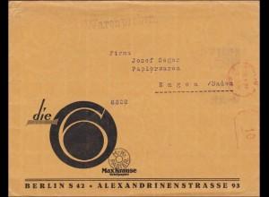 Freistempel: Warenproben von Berlin nach Engen 1927