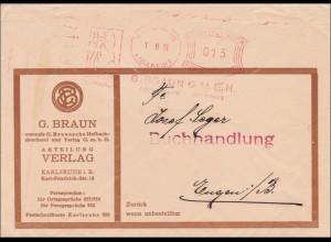 Freistempel: Buchhandlung Karlsruhe nach Engen 1933