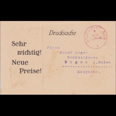 Gebühr bezahlt:Drucksache Stuttgart 7.8.1923: Inflation: Preiserhöhung auf 4400%