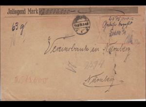 Gebühr bezahlt: Werbrief 1923, hanschriftlich bestätigt, nach Nürnberg