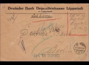 Gebühr bezahlt: Wertbrief aus Lippstadt nach Berlin 1923