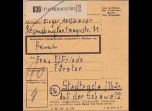Gebühr bezahlt: Paketkarte von Regensburg 1949 nach Stadtroda