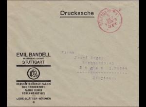 Gebühr bezahlt: Reklameartikel,Drucksache Brief von Stuttgart nach Engen, Franco