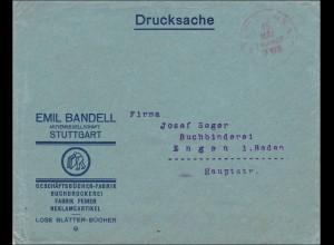 Gebühr bezahlt: Reklameartikel, Drucksache Brief von Stuttgart nach Engen