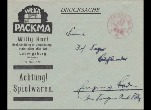 Gebühr bezahlt: Spielwaren, Drucksache Brief von Ludwigsburg