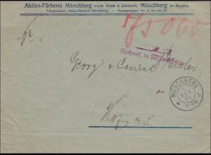 Gebühr bezahlt: Färberei Münchberg, 1923, Nachweis ...