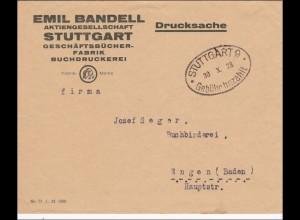 Gebühr bezahlt: Geschäftsbücher Stuttgart 1923