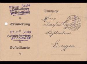 Gebühr bezahlt:Drucksache mit Lochung von Cöln 1923,Spielkartenfabrik, Altenburg