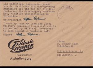 Gebühr bezahlt: Aschaffenburg 1945 nach München, von Militärregierung genehmigt