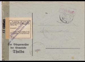 Gebühr bezahlt: Thulba, Bürgermeister, Bestätigung, Militärzensur nach München