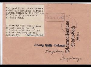 Gebühr bezahlt: Pfarrwaisenhaus Windsbach nach Augsburg 1945, Bestätigung