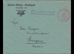 Gebühr bezahlt: Drucksache Brief aus Stuttgart, Franco