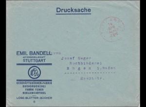 Gebühr bezahlt: Drucksache Brief aus Stuttgart