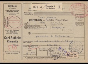 Gebühr bezahlt: Paketkarte von Chemnitz nach Island !!! 1929, Selbstbucher