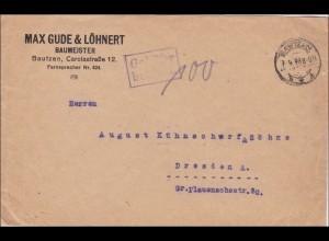 Gebühr bezahlt: Brief aus Bautzen 1923 nach Dresden